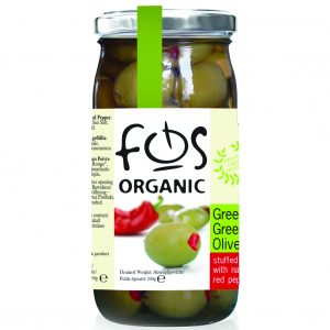Organic Green Olives – Stuffed with Natural Red Pepper